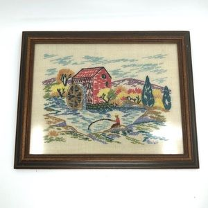 1940s Hand Embroidered Framed Water Wheel Picture